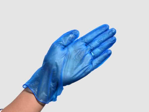 blue disposable vinyl glove